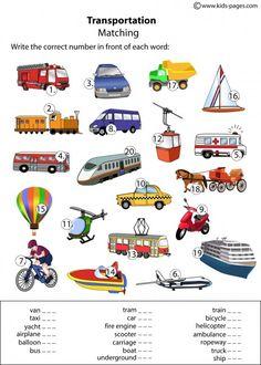 Printable vocab for transport