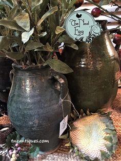 Antique olive pots f