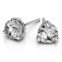 Durable beauty: The Three Prong Diamond Stud Earrings in Platinum (1/4 ctw) are the perfect accessory to all your holiday outfits! Going out in white? Stunning. How about an LBD? Perfect!  www.brilliance.com