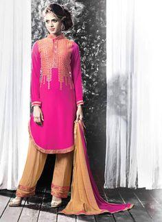 Honourable Georgette Hot Pink Salwar Suit