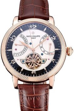 Replica Patek Philippe Classic Tourbillon Power Reserve Watch with Black/White Dial with Arabic Numerals, Sapphire Crystal Top, Rose-Gold Plated Case with Ribbed Rose-Gold Bezel and Brown Leather Strap