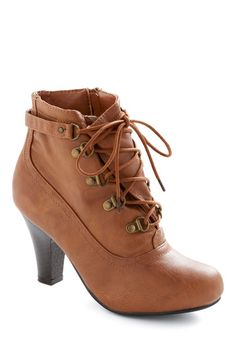 As You Hike It Boot  This boot reminds me of the boots women wore in the early 20th century, minus the extra eyelets! Pair these with a pair of skinnies & a graphic tee with a military style jacket to give your look some edgy cool. Or if you're a bold one, try it with a skirt!