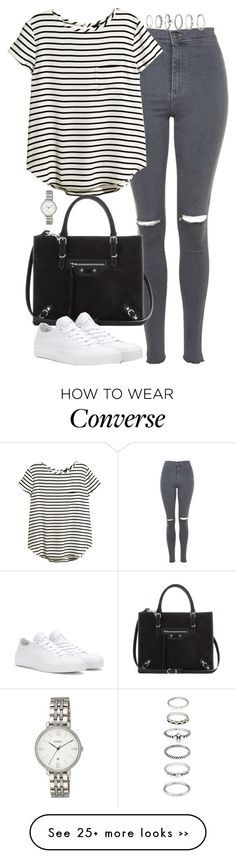 """Untitled #4822"" by eleanorsclosettt on Polyvore featuring Topshop, H&M, Balenciaga, Forever 21, Converse and FOSSIL"