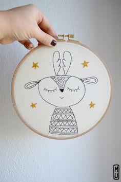 Baby gift/ Hoop embroidery/ Reindeer with by MillieandUbu on Etsy