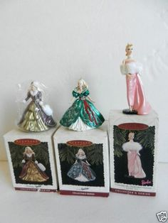 Lot of 3 Barbie Ornaments Holiday Barbie Collector's 1995, 1996, 1996 NIB