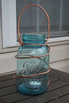 Vintage Blue Mason Jar Lantern