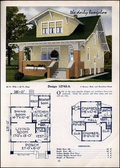 ideas vintage home plans porches Craftsman Bungalow Exterior, Craftsman Style Homes, Craftsman Bungalows, Craftsman House Plans, Craftsman Kitchen, Sims 4 House Plans, Small House Plans, House Floor Plans, Vintage House Plans