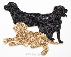 Quilled Labrador Retriever Trio - Mainely Quilling. See more of Stacy Bettencourt's work at the link.