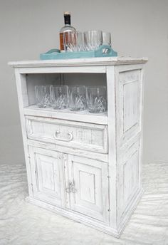 Rustic Storage / Media Cabinet - Refinished in Distressed White - Mini Bar, Library, Side Table
