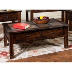Check out the Sunny Designs 3143DC Santa Fe Coffee Table with Slate Top in Dark Chocolate priced at $482.50 at Homeclick.com.