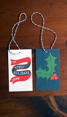 Happy Holly Gift Tags - Pack of 10. $6.00, via Etsy, Thimblepress
