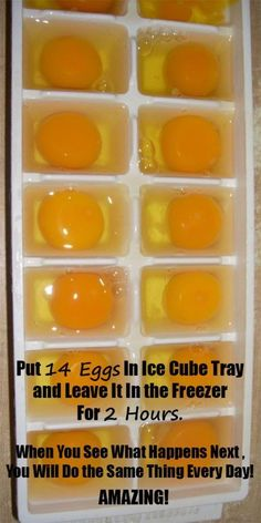 She Put Exactly 14 Eggs In Ice Cube Tray And Left It In The Freezer For 2 Hours. When She Saw What Happened Next She Decided To Do The Same Thing Every Day!but interesting) Freezing Eggs, Freezing Cheese, Freezing Lemons, Photo Food, Cuisine Diverse, Freezer Meals, Freezer Hacks, Freezer Cooking, Freezer Recipes