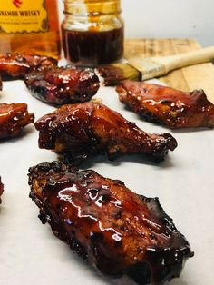 The sweet and spicy Fireball Whiskey glaze would be amazing on anything, these Fireball Whiskey Chicken Wings will be your new favorite recipe! Cooking Chicken Wings, Smoked Chicken Wings, Canned Chicken, Chicken Meals, Garlic Chicken, Fried Chicken, Grilled Chicken Recipes, Chicken Wing Recipes, Grilling Recipes
