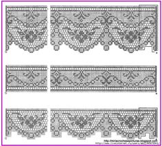 Crochet Edging And Borders Filet crochet lace edgings with scrolls and scallops Crochet Lace Edging, Crochet Motifs, Granny Square Crochet Pattern, Crochet Borders, Crochet Cross, Thread Crochet, Crochet Trim, Crochet Doilies, Crochet Patterns