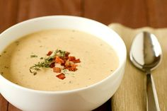 Cheddar & Ale soup with potato and bacon recipe.  Source: http://www.browneyedbaker.com/2012/01/26/cheddar-cheese-soup-recipe-ale-potato-bacon/