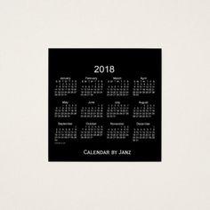 2018 Neon White Calendar by Janz Business Card