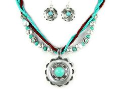 Turquoise/Silver Medallion Necklace Set