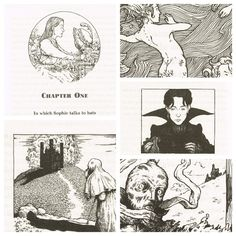 Photoset of the beautiful illustrations drawn by Tim Stevens in Howl's Moving Castle written by Diana Wynne Jones