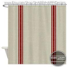 Shower Curtain Art Design / Distressed Vintage French Country Grain Sack Art // Custom Bathroom Decor // 12 stitch-enforced eyelets