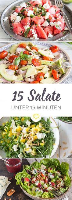 Feierabend - und keine Lust zu kochen? Dann sind diese schnellen Salate genau das Richtige für dich. Keiner dauert länger als 15 Minuten. #Cleaneating