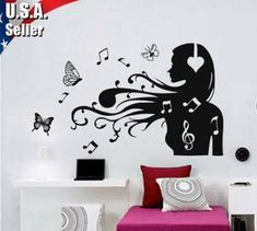 Super wall stickers music headphones 46 ideas The Active Noise Can Music Notes Art, Music Wall Art, Music Decor, Vinyl Wall Stickers, Wall Decals, Vinyl Art, Music Bedroom, Dance Bedroom, Wall Art Decor