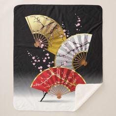 Japanese Cherry Fans Medium Sherpa Fleece Blanket - artists unique special customize presents