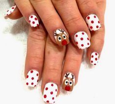 Reindeer Christmas Nail Art. http://www.deal-shop.com/product/3d-fiber-lash-mascara/
