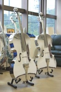 Aluminum Cello - Japanese craftsmanship, Yamashita Kogyo is Japanese company known as hammering out the Shinkansen nose shape by human hand.  Now they create handmade Aluminum Cello.   kimokame.com