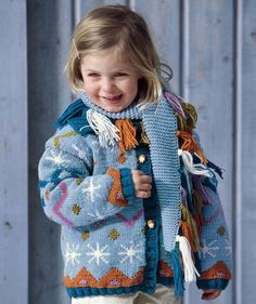 Child's Fair Isle Cardigan with Scarf, 5998 - Free Pattern. Like the contrast of using garter stitch