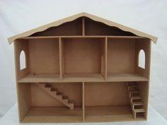 casa de boneca trabalaha c/ div e escada 51.5-A x 20.5-L x 63-C - ARTE COM MDF BR$59,00