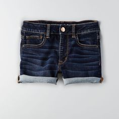 AEO Denim X Hi-Rise Shorts ($45) ❤ liked on Polyvore featuring shorts, deep indigo, fitted shorts, american eagle outfitters, american eagle outfitters shorts and denim shorts