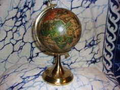 Vintage Old World Globe with Golden Brass