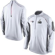Men s Nike White New England Patriots Super Bowl XLIX Champions Hybrid  Media Day Half Zip Jacket edcb0da44