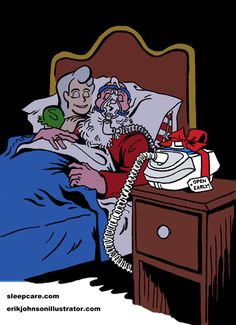 Santa's Early Present  Part 3 of 4 of Sleep Care's Seasonal Series.    Santa Claus receives the gift of a CPAP Machine to help his night time breathing and make sure he and the Mrs sleep soundly.