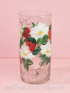 Hand Painted Vase - Strawberries & Daisies - Original Designs by Cathy Kraemer  #wine #cancerribbon #ocean #lighthouse #flowers #hydrangea #beach #awarenessribbon #handpainted #tolepainted
