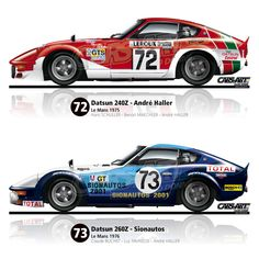 The Amazing Z duo. Datsun 240z, Datsun Car, Japanese Sports Cars, Japanese Cars, Road Race Car, Race Cars, Sports Car Racing, Sport Cars, 24 Hours Le Mans