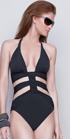 #Gottex 2015 Dream Weaver Black #CutOutSwimsuit 15DW015-001 #southbeachswimsuits