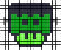Frankenstein Mushroom Halloween perler bead pattern