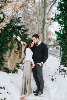 Cara and Darik snowy engagements » blushbyb.com