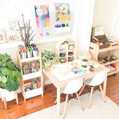 kleinkind zimmer T I M E Hands up who would like more! Cant help there, but I can help you out with teaching children about it. Montessori Ikea, Montessori Toddler Rooms, Toddler Playroom, Playroom Design, Playroom Decor, Playroom Ideas, Kids Art Space, Art For Kids, Playroom Organization