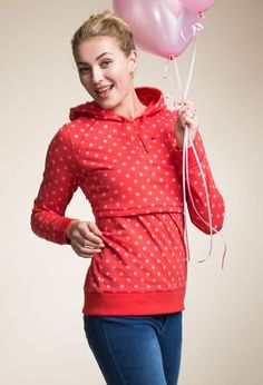 B-Warmer maternity hoodie / nursing hoodie -Dotted pattern is in limited edition! Hoodie with double function for pregnancy and nursing. http://shop.boobdesign.com/en/product/225/b-warmer-maternity-hoodie-nursing-hoodie