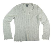 f034df7353ef6 ANN TAYLOR Size L Cashmere Gray   Silver Metallic Pointelle Knit Sweater  MINT  AnnTaylor