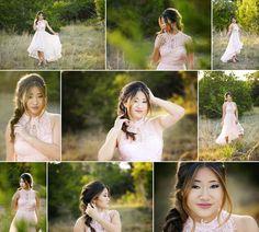 Austin senior photographer.  Heidi Knight Photography.  Sherri Hill prom dress, tall grass, backlight.  Asian beauty.