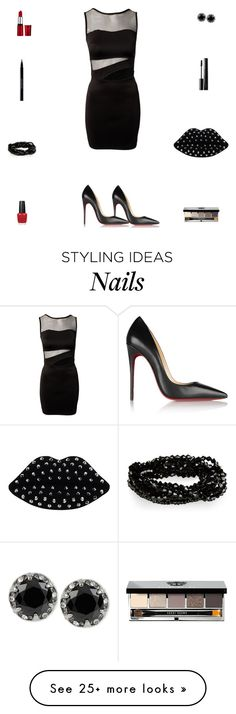 """""""Contest: Black & Red Sexy Outfit"""" by billsacred on Polyvore featuring Christian Louboutin, Lulu Guinness, Betsey Johnson, OPI, Bobbi Brown Cosmetics and Urban Decay"""