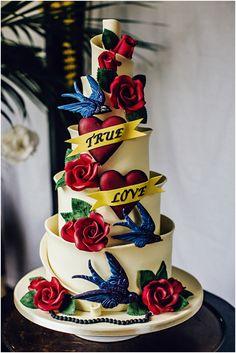 Amazing tattooed wedding cake by Ben The Cake Man (photo - Steve Gerrard Photography)