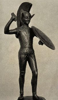 A bronze statuette of an Etruscan warrior, from about 500 BC. Etruscan art, which included painting, pottery, metalwork, and jewellery as well as sculpture, had a great influence on the development of later Western art.(Image © Philip Sauvain Picture Collection) Image 1 of 3