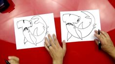 How to draw a hammerhead shark - art for kids hub Drawing Videos For Kids, Easy Drawings For Beginners, Easy Drawings For Kids, Drawing Ideas, Art For Kids Hub, Art Hub, Arts And Crafts Storage, Diy Arts And Crafts, Drawings For Boyfriend