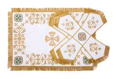 $190.00 Chalice Covers & Veil from the Workshop of St. Elisabeth Convent - To learn more about our Workshop: http://catalog.obitel-minsk.com/sewing-workshop - Worldwide Delivery - #CatalogOfGoodDeeds #Orthodox #Orthodoxy #Church #Religion #Priest #Sanctuary #Altar #Chalice #Covers #Veil