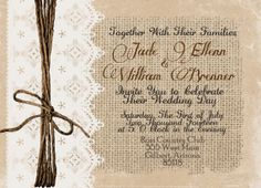 Burlap and Lace Wedding Invitation Rustic by WallflowerEvents, $15.00