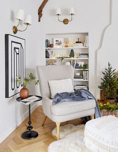 How We Decked Our Halls for Christmas - Emily Henderson Decorating Tips, Interior Decorating, Bookcase Styling, Christmas Home, Christmas Decor, Living Spaces, Living Rooms, Holiday Decor, Furniture